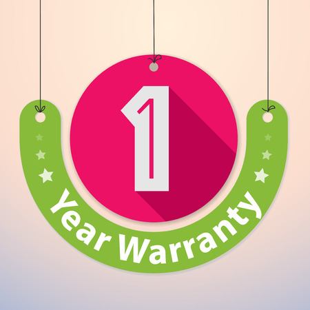 paper cutout: 1 year Warranty Colorful Badge, Paper cut-out