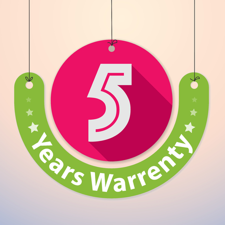 5 years Warranty Colorful Badge, Paper cut-out 일러스트