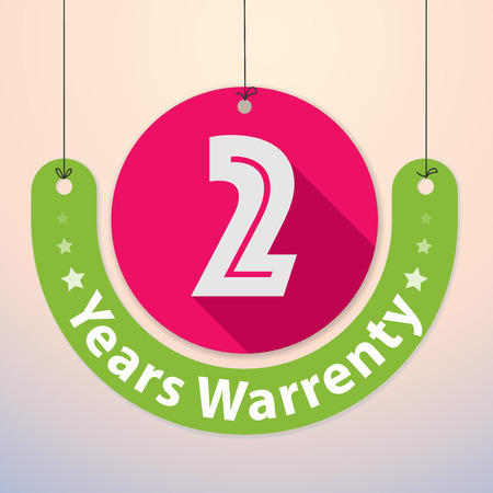 2 years Warranty Colorful Badge, Paper cut-out