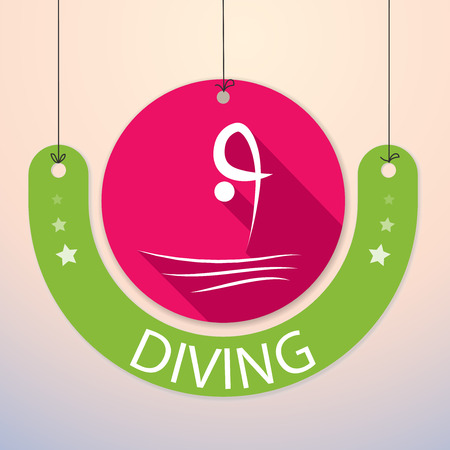 Diving - Colorful Paper Tag for Sports