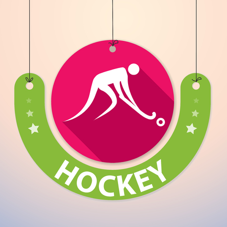 paper tag: Hockey - Colorful Paper Tag for Sports Illustration