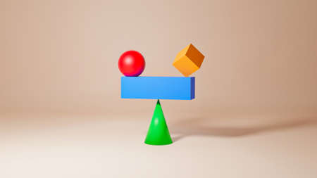 Concept for Equality, Balance, Sustainability and Harmony with copy space. 3D illustration 스톡 콘텐츠