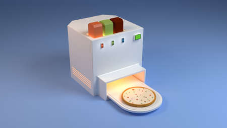 Pizza Robot, Pizza Machine, Food Printing Concept - 3D illustration