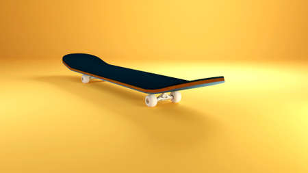 Skateboard isolated on a colorful background. 3D Illustration 스톡 콘텐츠