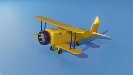 Military jet fighter, Classic Yellow Biplane - 3D illustration 스톡 콘텐츠
