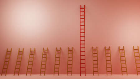 Ladder of Success, Winner, Opportunity, Inequality,  Concept for presentation, 3D illustration background 스톡 콘텐츠 - 155233370