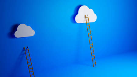 cloud computing concept, Ladder of Success Concept, Dream Big Concept, Presentation Concept, 3D illustration background