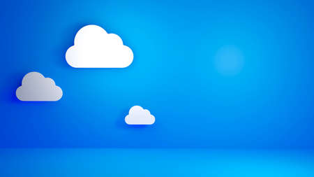 Cloud Computing, White Cloud on Blue Background. 3D illustration Background 스톡 콘텐츠