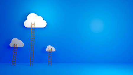 Cloud Computing, Equal Opportunity, Success - Concept background for presentation. 3D illustration. 스톡 콘텐츠 - 155373128
