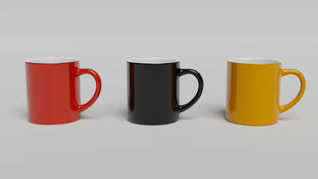 Cup of Coffee, Coffee Mug - Coffee Mug Printing Template. Colorful (Red, Black, Yellow) mugs on white background 스톡 콘텐츠