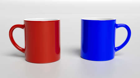Cup of Coffee, Coffee Mug - Coffee Mug Printing Template. Red and Blue Mug isolated. 3D illustration 스톡 콘텐츠