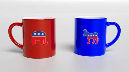 3d illustration, beverage, black, blank, blue, breakfast, cafe, cappuccino, ceramic, ceramics, close-up, coffee break, coffee mug printing, cup, cups, democrat, democrat donkey, dishware, drink, empty