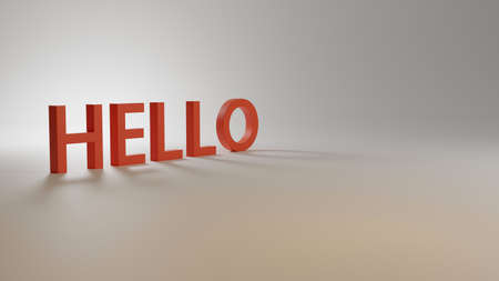 Hello word on white BG. Background graphic for presentation/poster. 3D illustration. 스톡 콘텐츠