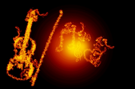 melodious: abstract fire viola with musical notes isolated on  black background Stock Photo