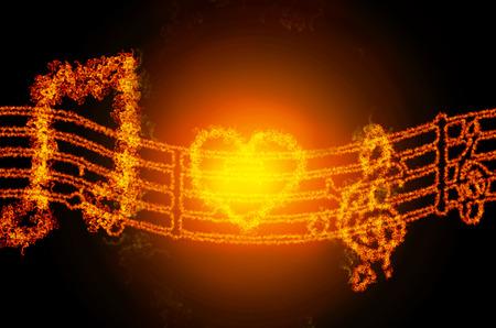 letras musicales: las notas musicales de fuego abstracta signo aislado sobre fondo negro