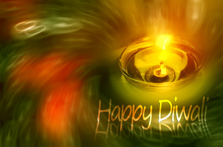 happy diwali night lamp zen candles night scene  photo