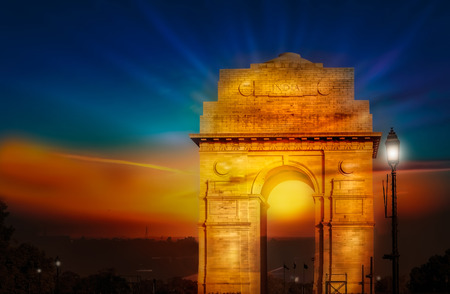 India gate dawn sunrise new delhi asia