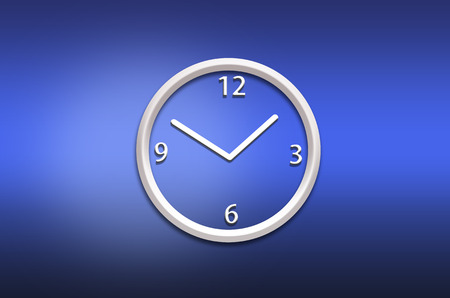 wall clock: abstract analog wall  clock on blue background Stock Photo