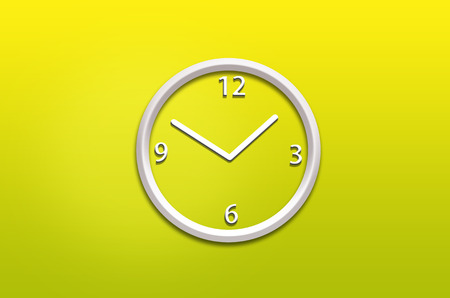 wall clock: abstract analog wall  clock on yellow  background
