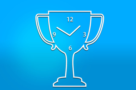 skyblue: abstract trophy clock  on skyblue background