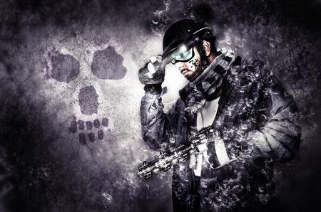 ghost warrior soldier with muffler and gun in dark surreal scene photo