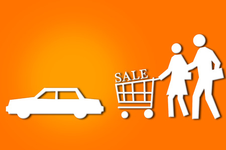 trolly: abstract sale shopping couple with trolly and car