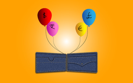 money ballons flying away in air from denim wallet concept on orange background photo