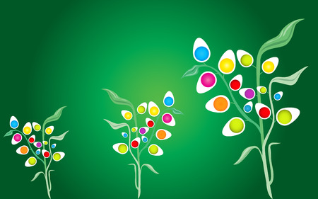 non vegetarian: abstract eggs plants background on green Stock Photo