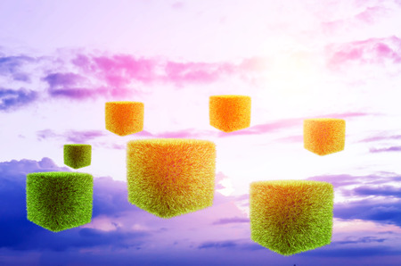 herbe ciel: fond futuriste ciel herbe cubes Banque d'images