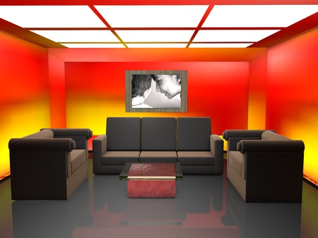 drawing room: drawing room 3d cg with sofa set