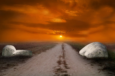 appreciating: an evening sunset or morning sunrise scene, a beautiful journey starts from the path which leads to better future and unknown success. Composed in adobe Photoshop cc 2014 using advance photo manipulation technique, a path or way leading to the sun and dra