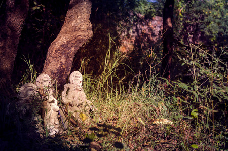 lord's: the idol or statues of abandoned lords Laxmi & Ganesh in the bushes under tree in forest or jungle or woods