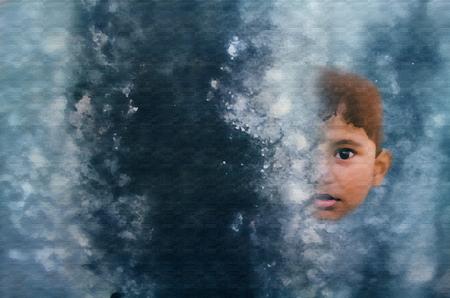 Garçon Asiatique Indien Petit Portrait Enfant Visage Peinture Abstraite Art  Banque D'Images Et Photos Libres De Droits. Image 49456269.