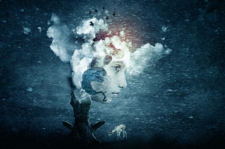 꿈에서 얼굴의 추상 미래 예술의 상상력 스톡 콘텐츠