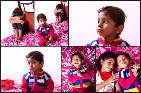 petite fille triste: tristesse au bonheur histoire visuelle des enfants fr�re soeur indien asiatique Banque d'images