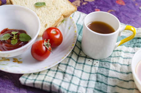 raw tea: healthy raw vegetables with black tea bread and sauce Stock Photo