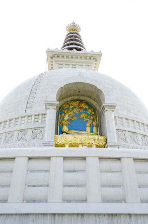 Peace statue shanti stupa new delhi India with dramatic sky front view