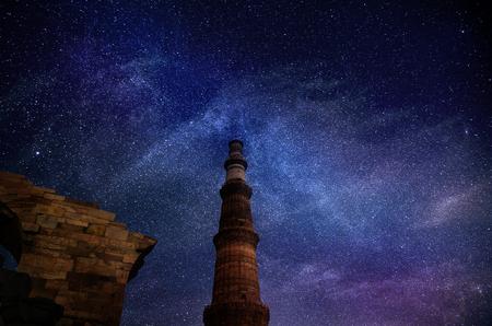Galaxy stars in sky at  Qutub Minar New Delhi India astrophotography