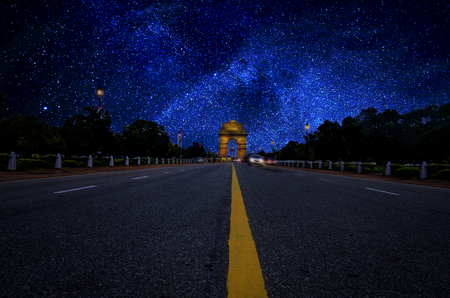 star path: road leading to India Gate stars Galaxy at Night long exposure