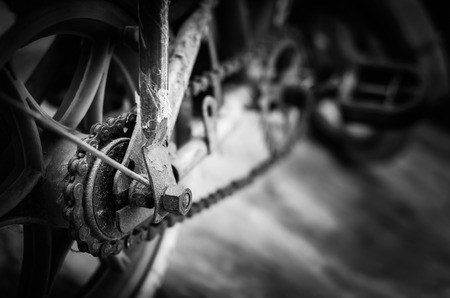grungey: Grungy old bike close up background front view dramatic Black and white