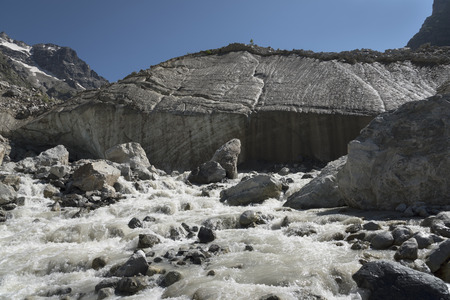 outflow: river outflow from the glacier Stock Photo