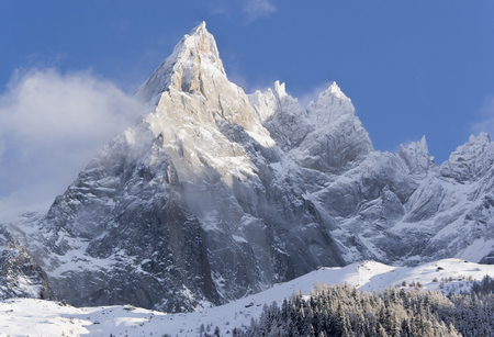 Mont Blanc, Chamonix. Slopes under snow Stock Photo