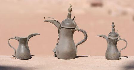 beverage display: Traditional Coffee Pots, Petra, Jordan.