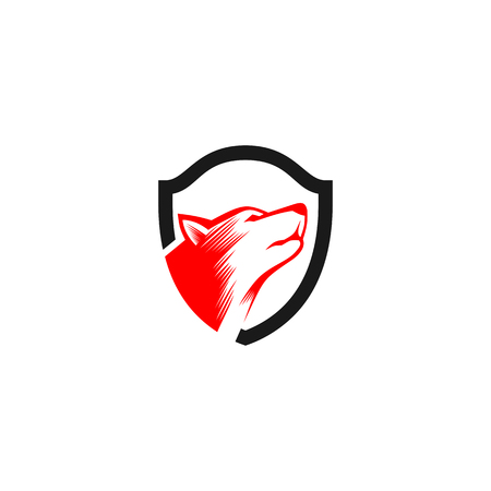 Dog shield symbol icon template design.