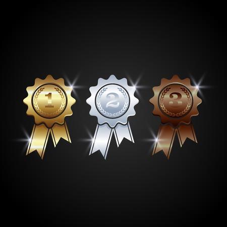 award medals vector. Winner medal gold bronze silver. trophy champion.