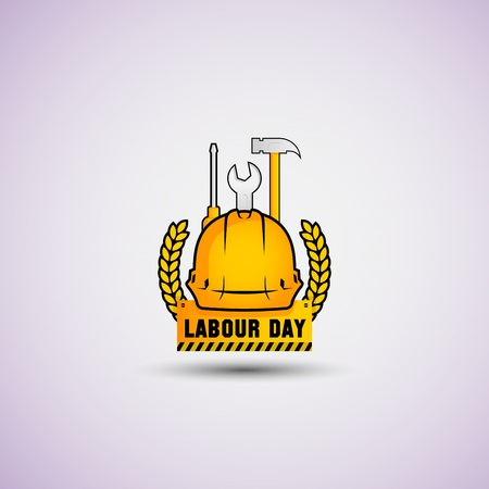 vector illustration happy labour day celebration, workers may day. strong yellow and black color.