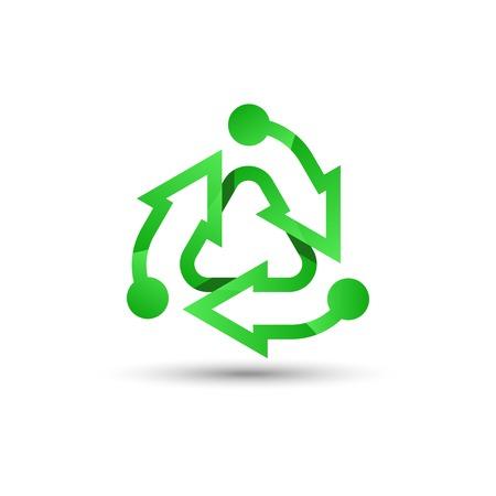 Grünes Recycling-Logo. Recycling-Symbol. Recycelter Öko-Vektor. Recycling-Pfeile-Ökologie-Symbol. Recycling-Zyklus-Pfeil. Umweltsymbol. Vektor-Illustration isoliert auf weißem Hintergrund