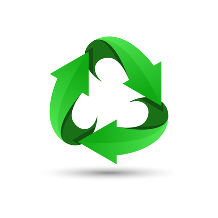 Green recycling logo. recycling icon. Recycled eco vector. Recycle arrows ecology symbol. Recycled cycle arrow. environmental symbol. Vector illustration isolated on white background