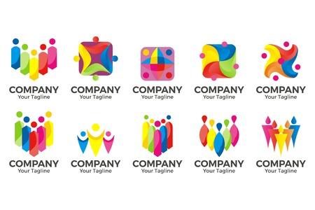 Vektor-Menschen-Community-Logo. Zeichen der Einheit, Partnerschaft, Zusammen, Teamwork & Team, Kinder spielen, Kinderspaß, Logo
