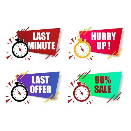 flat modern colorful last minute offer, hurry up, sale button sign and label, alarm clock countdown timer.vector illustration logo